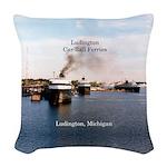 Ludington Car/rail Ferries Woven Throw Pillow