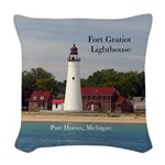 Fort Gratiot Lighthouse Woven Throw Pillow