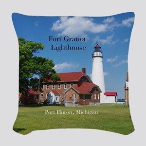 Fort Gratiot Lighthouse Woven Throw Pillow
