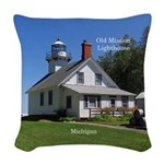 Old Mission Point Lighthouse Woven Throw Pillow