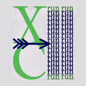 XC Run Light Green Navy Throw Blanket
