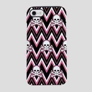 Gothic Pink Skull Chevron Pattern iPhone 7 Tough C