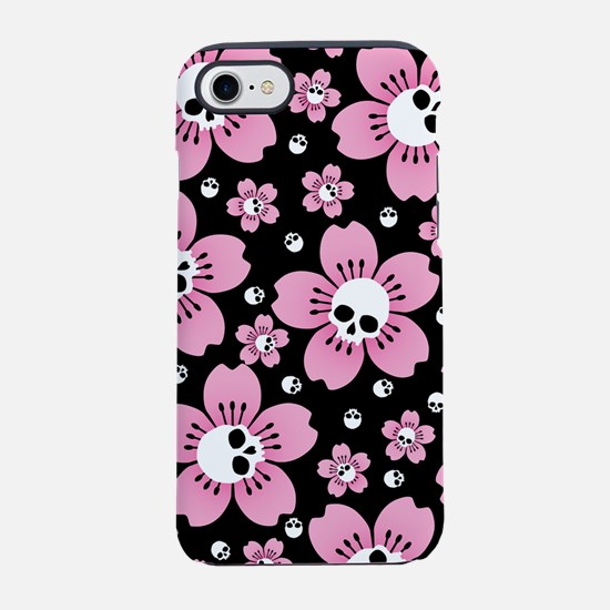 Skull Pink Blossoms iPhone 7 Tough Case