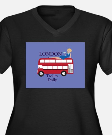 London Trolley Dolly Women's Plus Size V-Neck Dark
