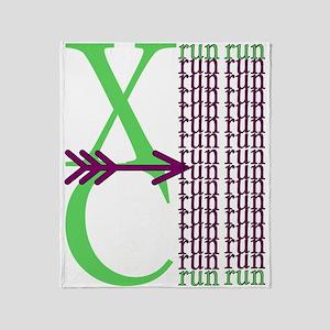 XC Run Light Green Purple Throw Blanket