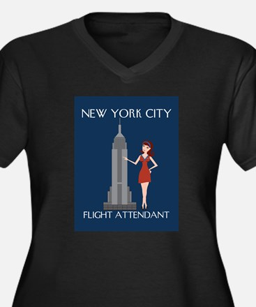 New York Flight Attendant Women's Plus Size V-Neck