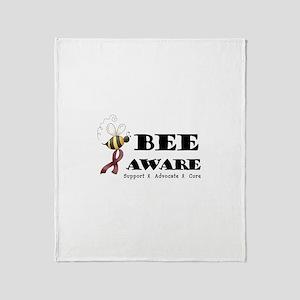Bee Aware - Burgundy Throw Blanket