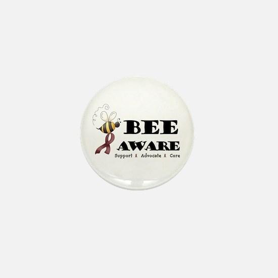 Bee Aware - Burgundy Mini Button
