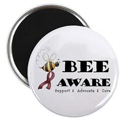 """Bee Aware - Burgundy 2.25"""" Magnet (10 pack)"""