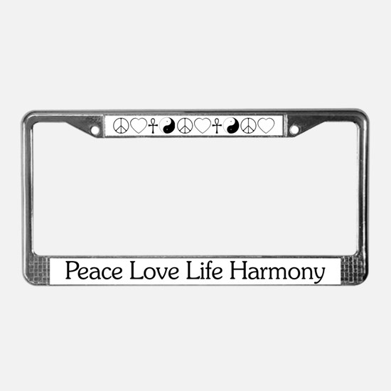 Peace Love Life Harmony License Plate Frame