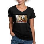I Survived The 80s!! Women's V-Neck Dark T-Shirt
