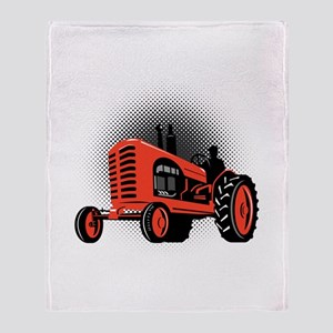 vintage farm tractor Throw Blanket