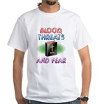 Blood, Threats and Fear, Atheist White T-Shirt