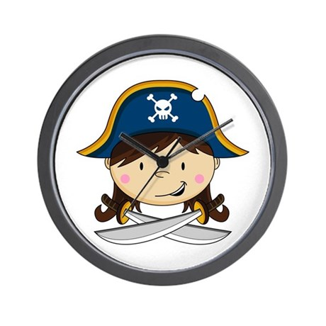 Cute Pirate Girl Wall Clock