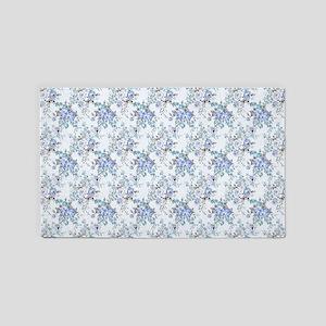 Blue Rosy Flower Pattern Area Rug