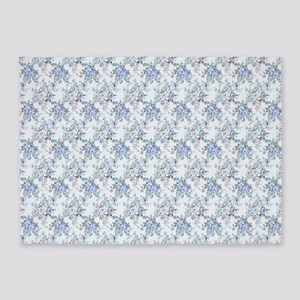 Blue Rosy Flower Pattern 5'x7'Area Rug