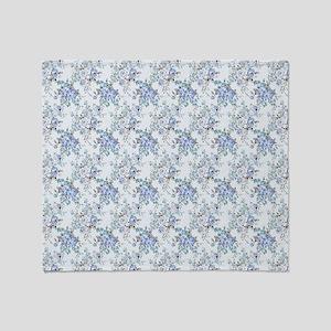 Blue Rosy Flower Pattern Throw Blanket