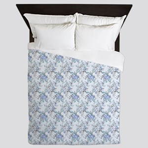 Blue Rosy Flower Pattern Queen Duvet