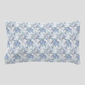Blue Rosy Flower Pattern Pillow Case