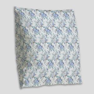 Blue Rosy Flower Pattern Burlap Throw Pillow