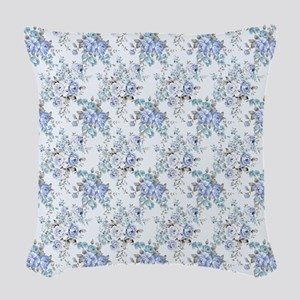 Blue Rosy Flower Pattern Woven Throw Pillow