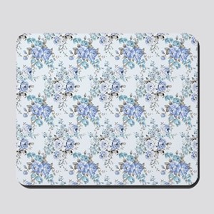 Blue Rosy Flower Pattern Mousepad