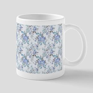Blue Rosy Flower Pattern Mug