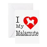 I Love My Malamute Greeting Cards (Pk of 20)