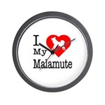 I Love My Malamute Wall Clock