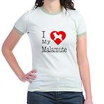 I Love My Malamute Jr. Ringer T-Shirt