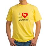I Love My Malamute Yellow T-Shirt