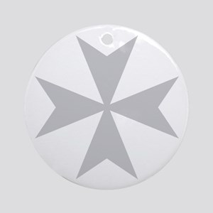 Silver Maltese Cross Ornament (Round)