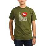 I Love My Basset Hound Organic Men's T-Shirt (dark