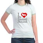 I Love My Basset Hound Jr. Ringer T-Shirt