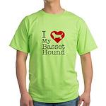 I Love My Basset Hound Green T-Shirt