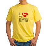I Love My Basset Hound Yellow T-Shirt