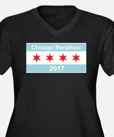 2017 Chicago Marathon Women's Plus Size V-Neck Dar