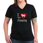 I Love My Bearded Collie Women's V-Neck Dark T-Shi