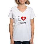 I Love My Boxer Women's V-Neck T-Shirt