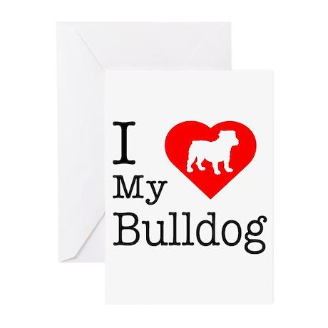I Love My Bulldog Greeting Cards (Pk of 10)