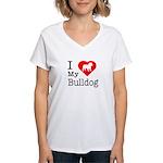 I Love My Bulldog Women's V-Neck T-Shirt