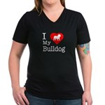 I Love My Bulldog Women's V-Neck Dark T-Shirt