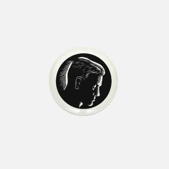 Pensive Man in Deep Thought Circle Woodcut Mini Bu