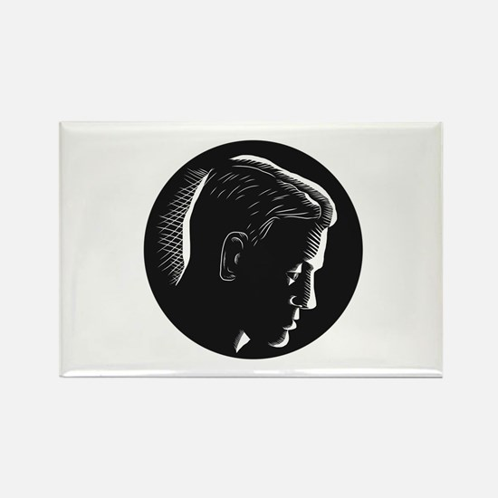 Pensive Man in Deep Thought Circle Woodcut Magnets