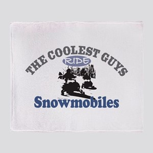 Coolest Guys Snowmobile Throw Blanket