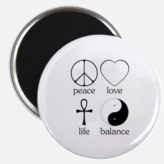 "Peace Love Life Balance 2.25"" Magnet (10 pack)"