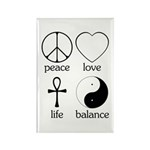 Peace Love Life Balance Rectangle Magnet (100 pack