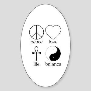 Peace Love Life Balance Sticker (Oval)