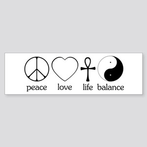 Peace Love Life Balance Sticker (Bumper)