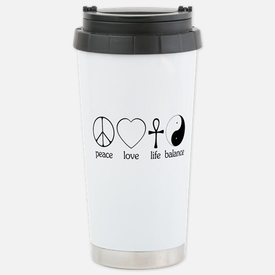 Peace Love Life Balance Stainless Steel Travel Mug